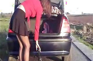 Riding Tow Bar of my car on parking place xxx tube video