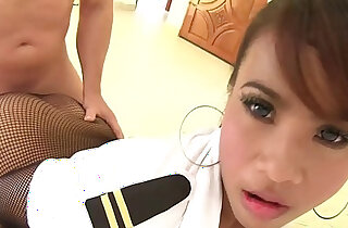 Fucking an Asian girl through her crotch less stockings xxx porn