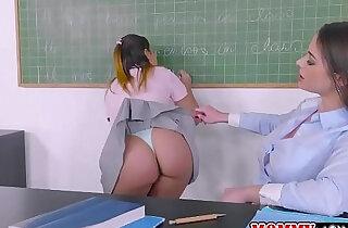 Teacher Cathy bangs Aninas sweet pussy by her dildo strap xxx tube video