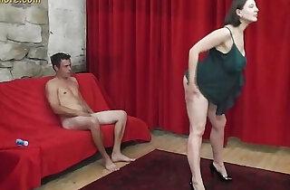 Busty MILF whore seduces a shy beginner guy xxx tube video