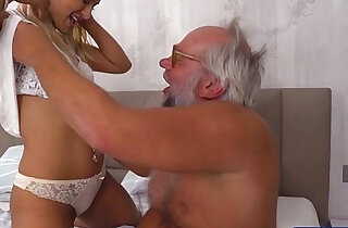 Chary kiss finger grandpas ass while jerking him off for cum xxx tube video