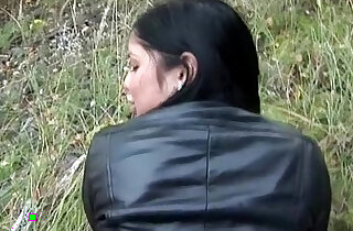 Flashing big tits and taking hard long black dick outdoors xxx tube video