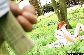 Beautiful Girl Hardcore Fucks Grandpa In the Forrest gets a nice facial cum xxx tube video