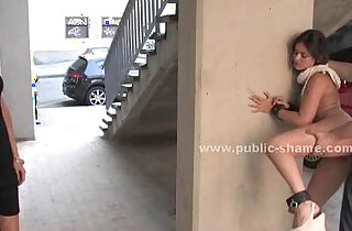 Blonde humiliated in public bondage sex on the streets and on bus in hard style anal xxx tube video
