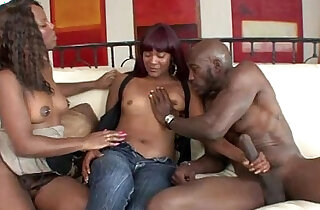 Two black beauties banged by a monster xxx tube video