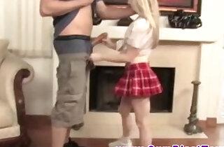 Blonde cumshot loving MILF jerks dude off xxx tube video