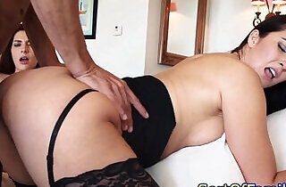 Taboo threeway with a stepmom in stockings xxx tube video