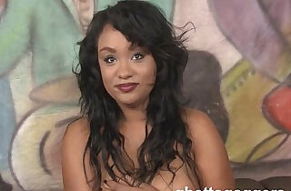 Cute ebony whore Kylayah Sparks gets trashed at ghetto gaggers xxx tube video