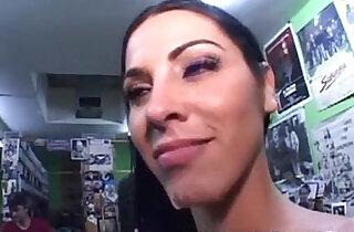 Busty Brunette gets fucked in sex shop xxx tube video